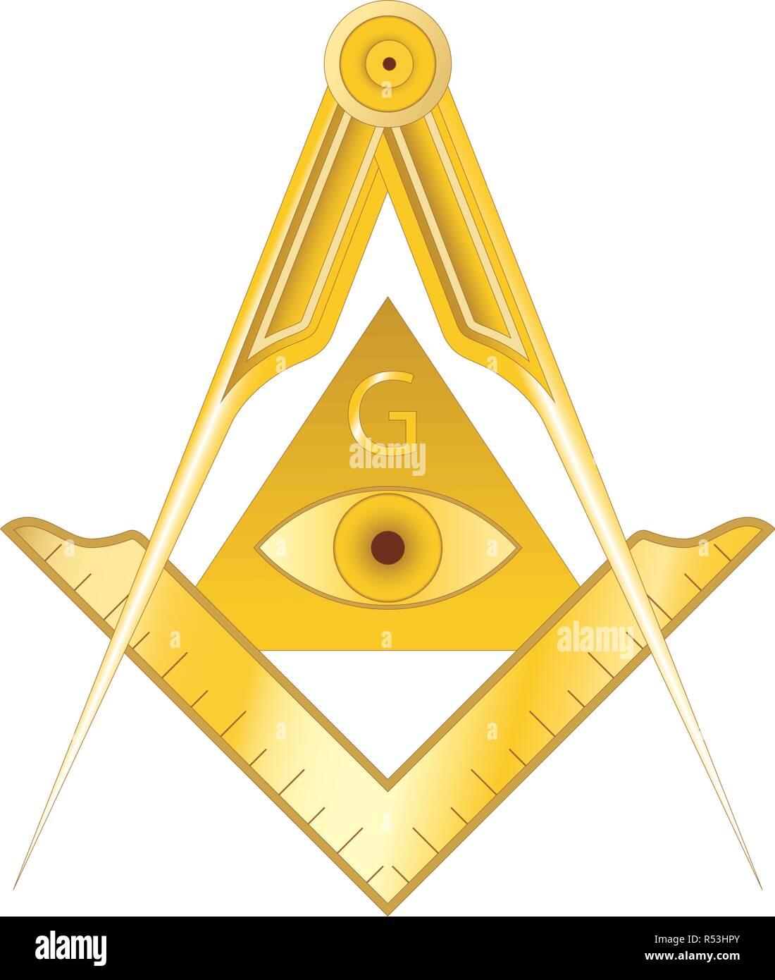 Golden masonic square and compass symbol, with triangle, eye and G letter.  Mystic occult esoteric, sacred society. Vector illustration Stock Vector  Image & Art - Alamy