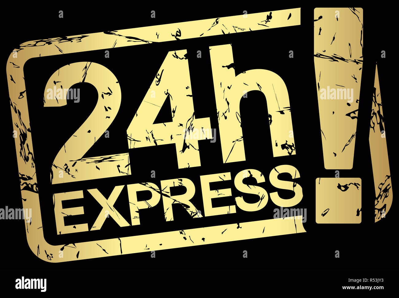 gold stamp with text 24h express Stock Photo