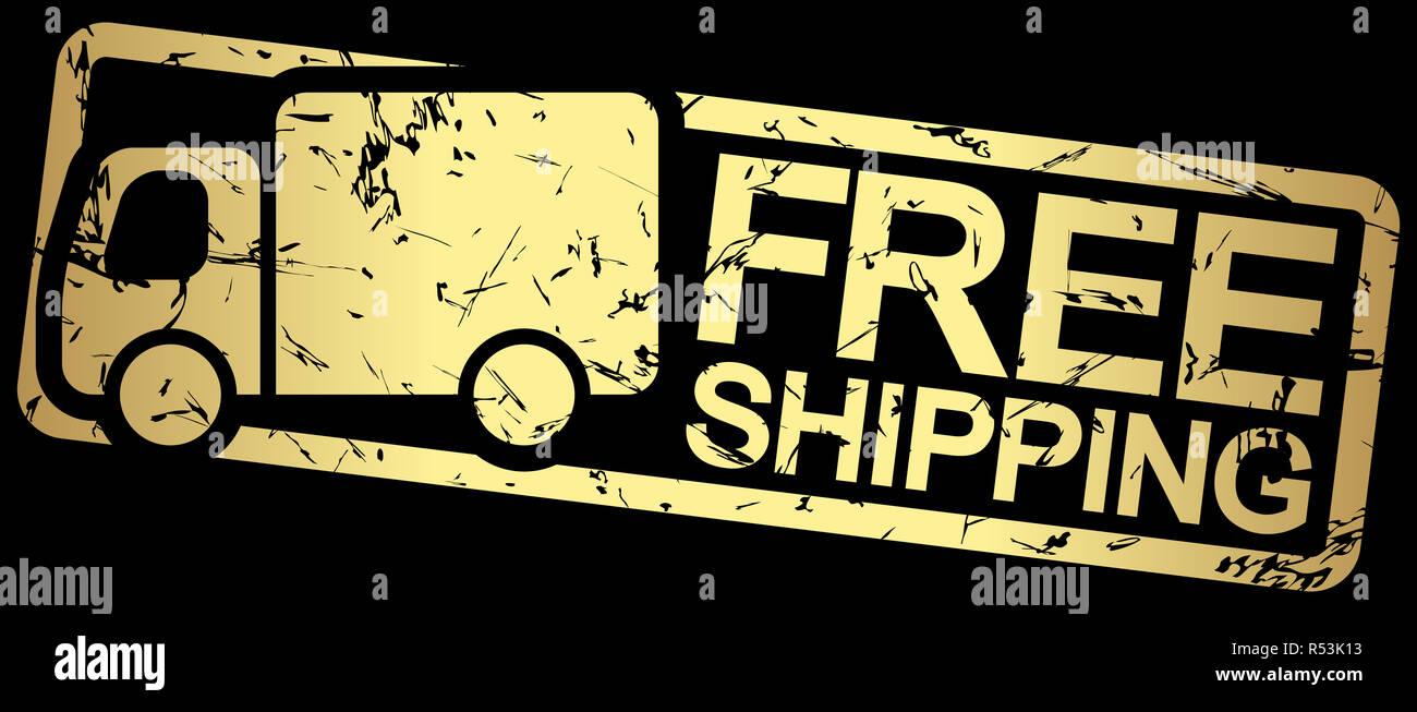 gold stamp with text free shipping Stock Photo