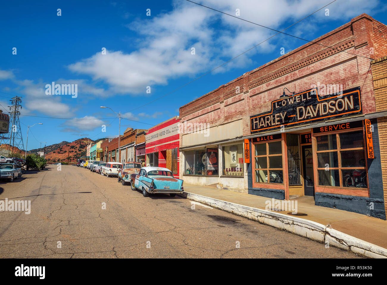 Historic Erie street in Lowell, now part of Bisbee, Arizona - Stock Image