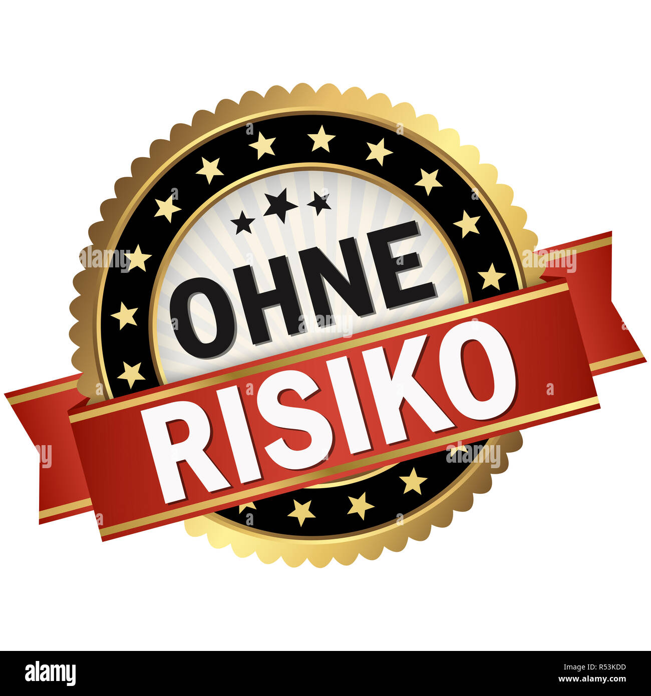 button with red banner without risk - Stock Image