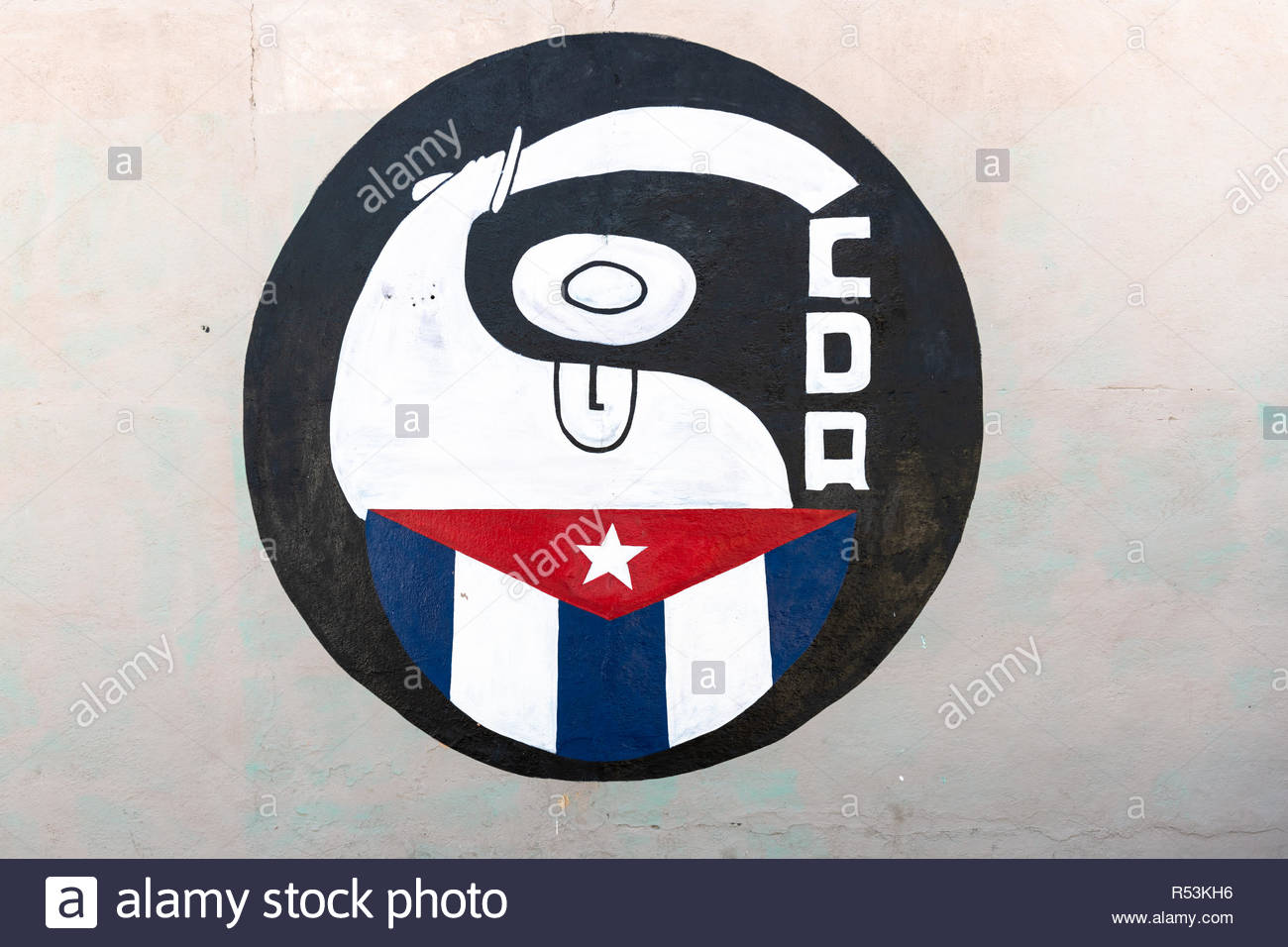 Santa Clara, Villa Clara, Cuba-November 4, 2018:  'CDR' logo or sign painted on a wall. The acronym stands for Committee for the Defense of the Revolu - Stock Image