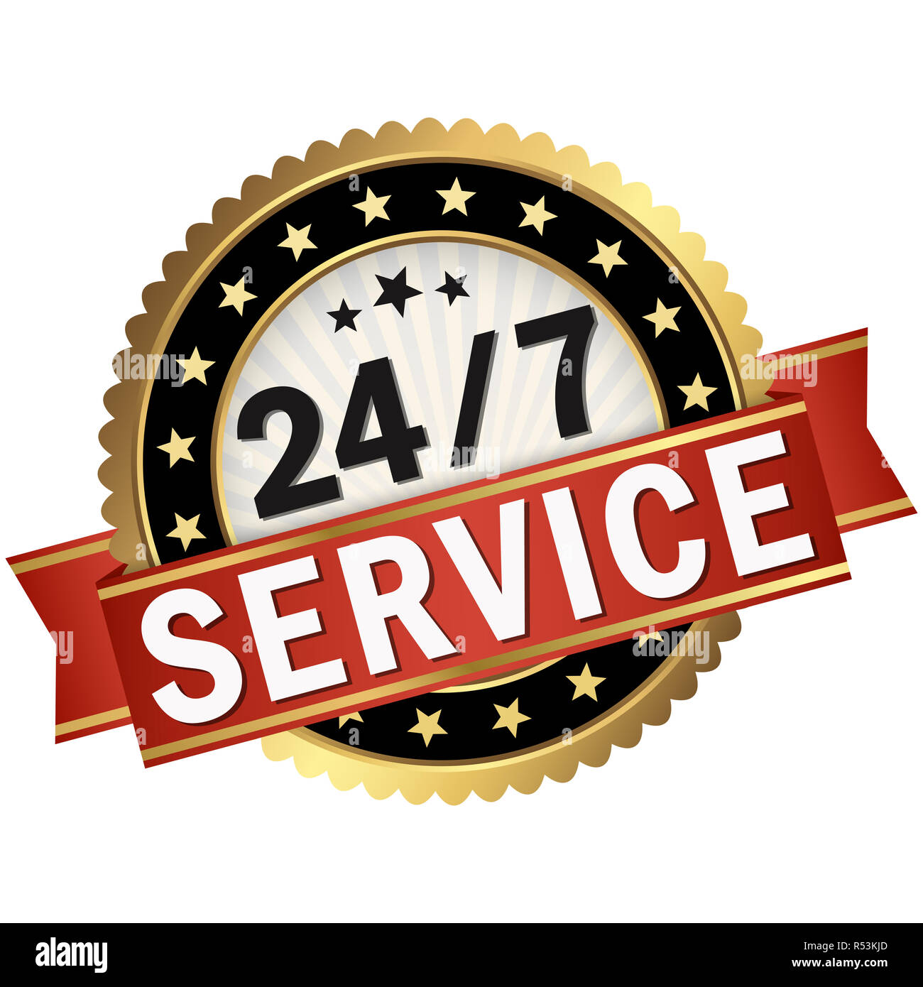 button with red banner 24/7 service Stock Photo