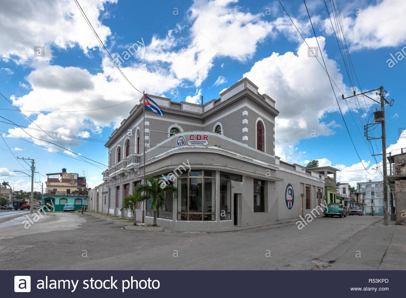 Santa Clara, Villa Clara, Cuba-November 4, 2018:  The Provincial Headquarters of the CDR ( Revolution Defense Committee). Wide angle view - Stock Image