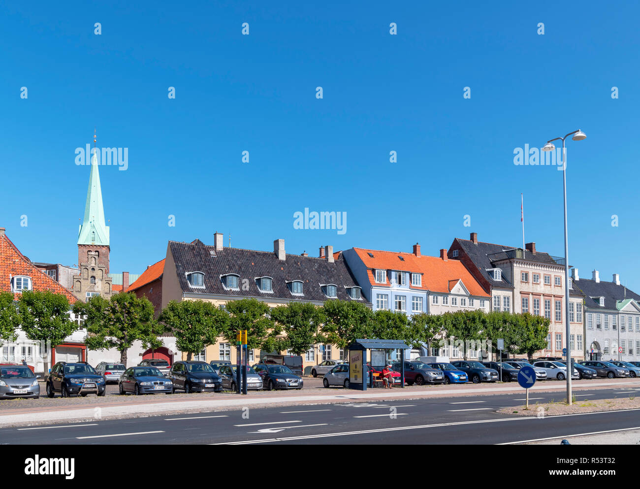 Seafront buildings along Strandgade in the old town centre, Helsingør ( Elsinore ), Zealand, Denmark Stock Photo