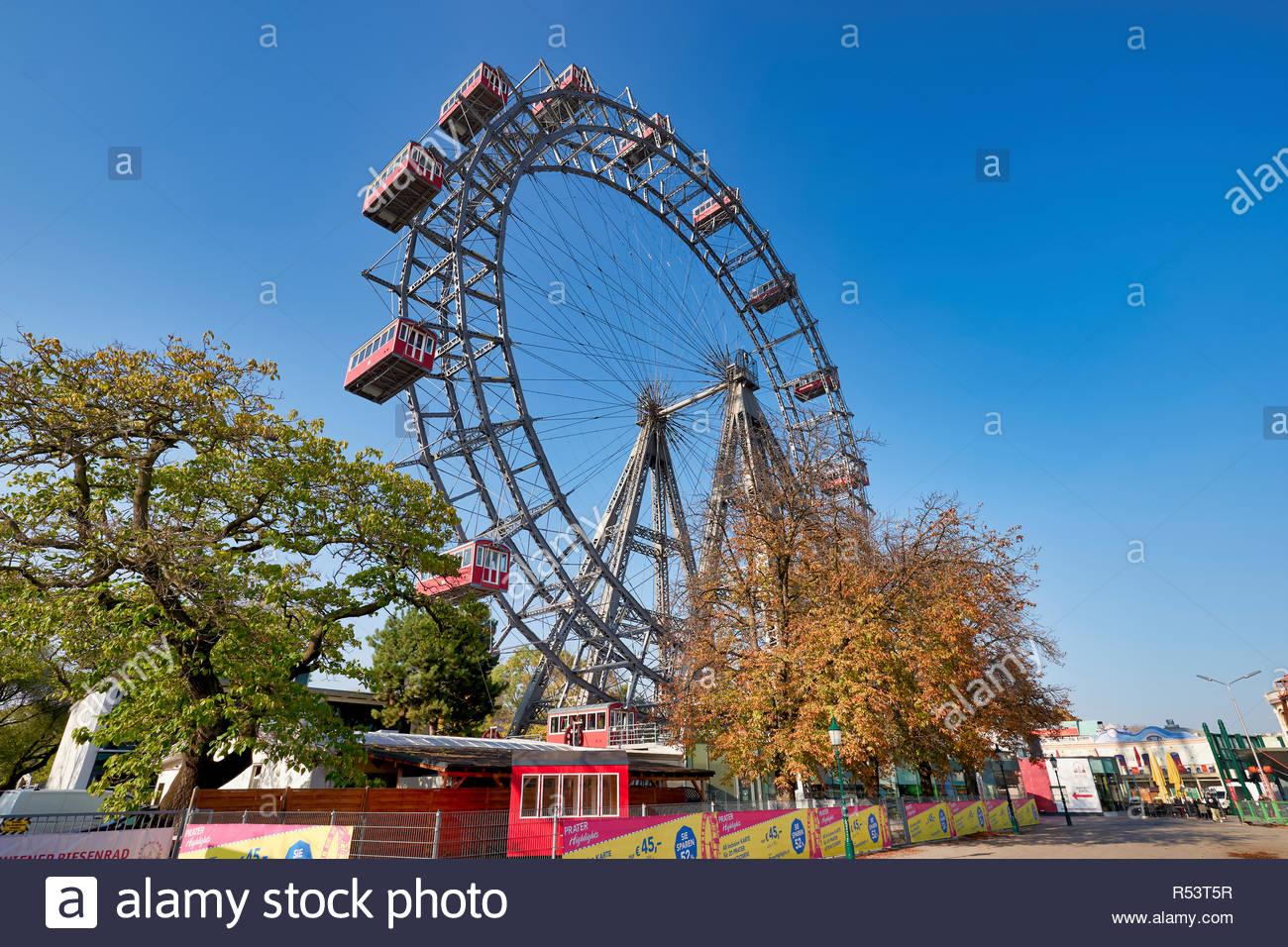 Riesenrad Panoramic Wheel. Prater Park. The oldest ferris wheel in the World. Vienna Austria - Stock Image