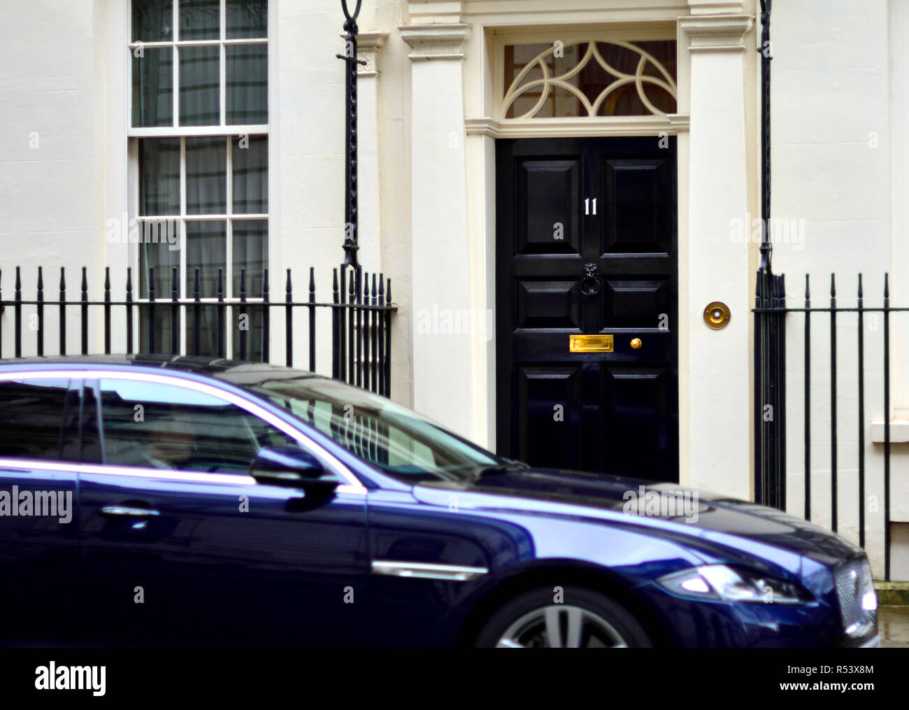 Ministerial car parked outside 11 Downing Street, London, England, UK. - Stock Image