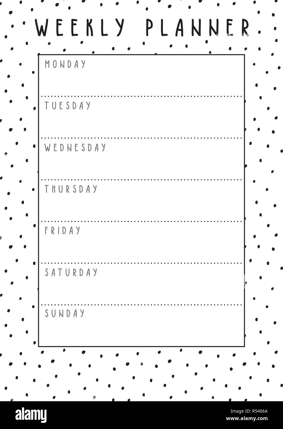 photo regarding Weekly Printable identified as Printable 7 days agenda with hand drawn materials, well prepared toward