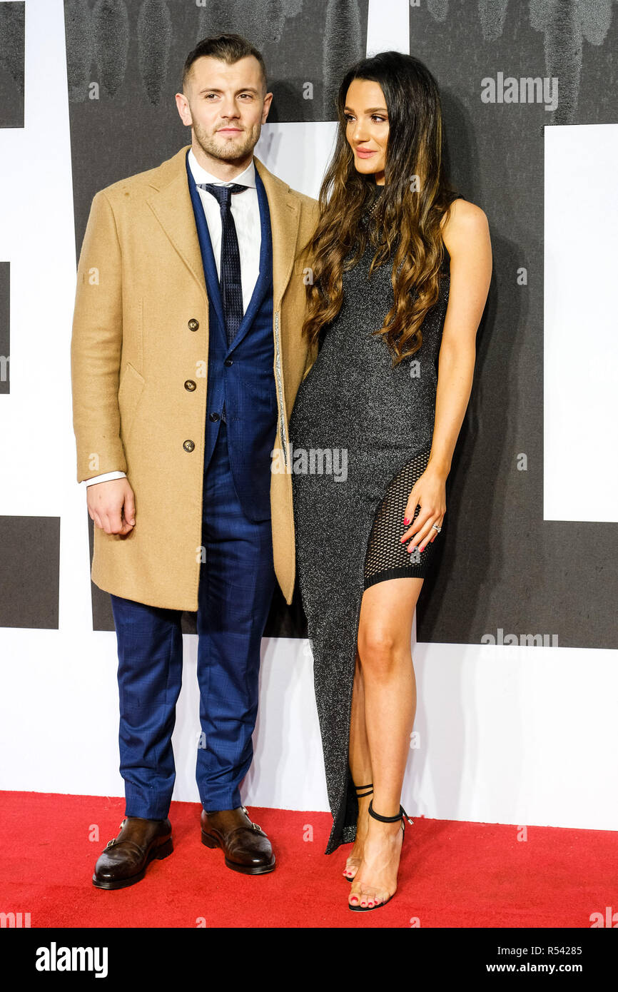 London, UK. 28th November, 2018. Jack Wilshere and Andriani Michael at The European Premiere of CREED II on Wednesday 28 November 2018 held at BFI IMAX, London. Pictured: Jack Wilshere , Andriani Michael. Credit: Julie Edwards/Alamy Live News - Stock Image