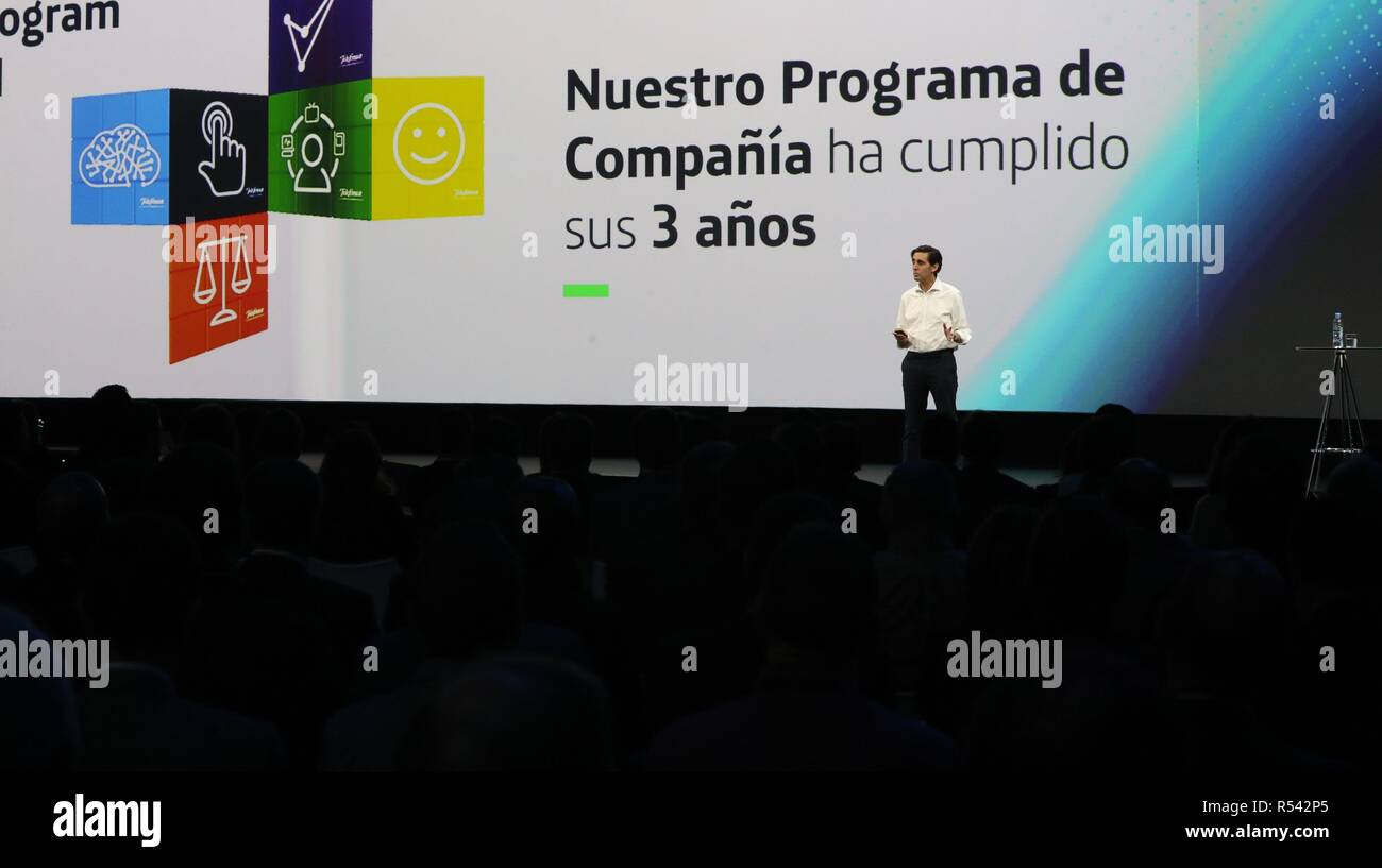 Telefonica President, Jose Maria Alvarez-Pallete (C), speaks during the opening ceremony of the two-day meeting with directors of the company in Madrid, Spain, 29 November 2018. Spanish multinational telecommunications company Telefonica presented its new plan for the next three years. EFE/ Zipi - Stock Image