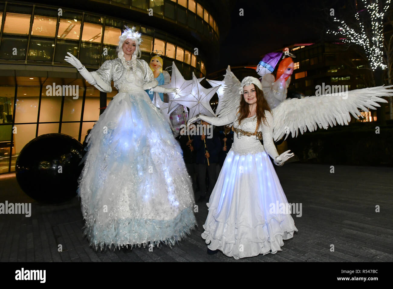 London, UK. 29th Nov 2018. Honourable Councillor Catherine Rose is a Mayor of Southwark join Christmas by the River Launch children from Snowsfields and Tower Bridge Primary Schools of spectacle illuminate procession at London Bridge City and singing jingle bell at Potters Fields Park to Hay Gallery to London Bridge Station on 29 November 2018, London, UK. Credit: Picture Capital/Alamy Live News - Stock Image