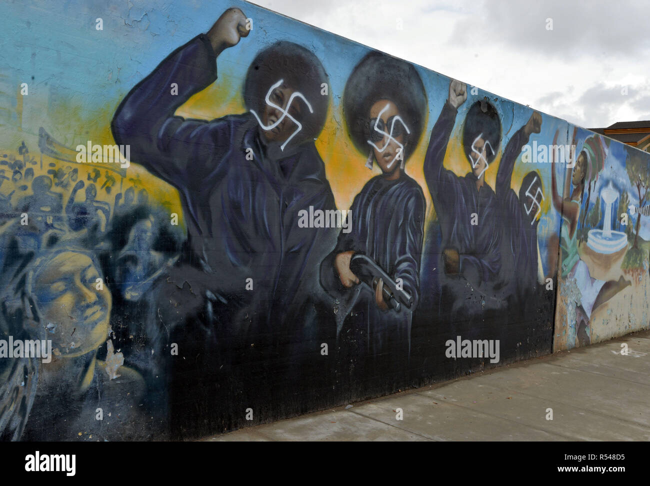 Los Angeles, Ca, USA. 29th Nov, 2018. The Crenshaw Wall Defaced with Swastika in Los Angeles, California on November 29, 2018. Credit: Koi Sojer/Snap'n U Photos/Media Punch/Alamy Live News - Stock Image