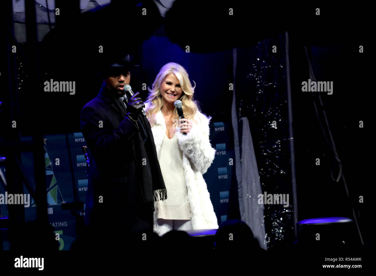 New York City, New York, USA. 29th Nov, 2018. Former supermodel Christine Brinkley promoting her brand as the New York Stock Exchange celebrated its Ninety-fifth (95) annual Christmas Tree lighting ceremony on 29 November 2018, outside its famous Wall Street location in Lower Manhattan. The tree lighting ceremony included entertainment and a sound stage that featured interviews with well-known personalities. Credit: G. Ronald Lopez/ZUMA Wire/Alamy Live News Stock Photo