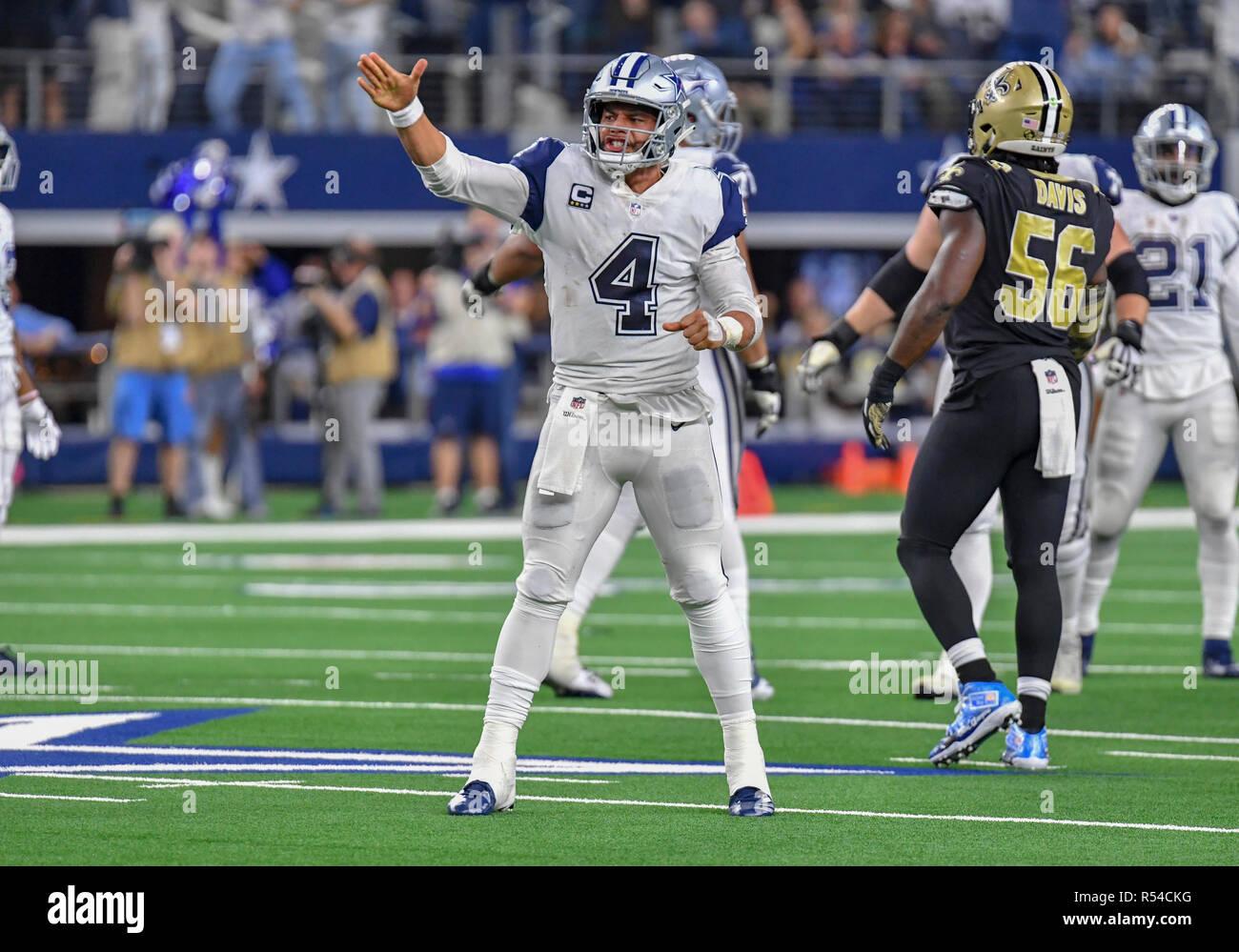 3627e0d13 November 29, 2018: Dallas Cowboys quarterback Dak Prescott #4 celebrates  after he scrambles