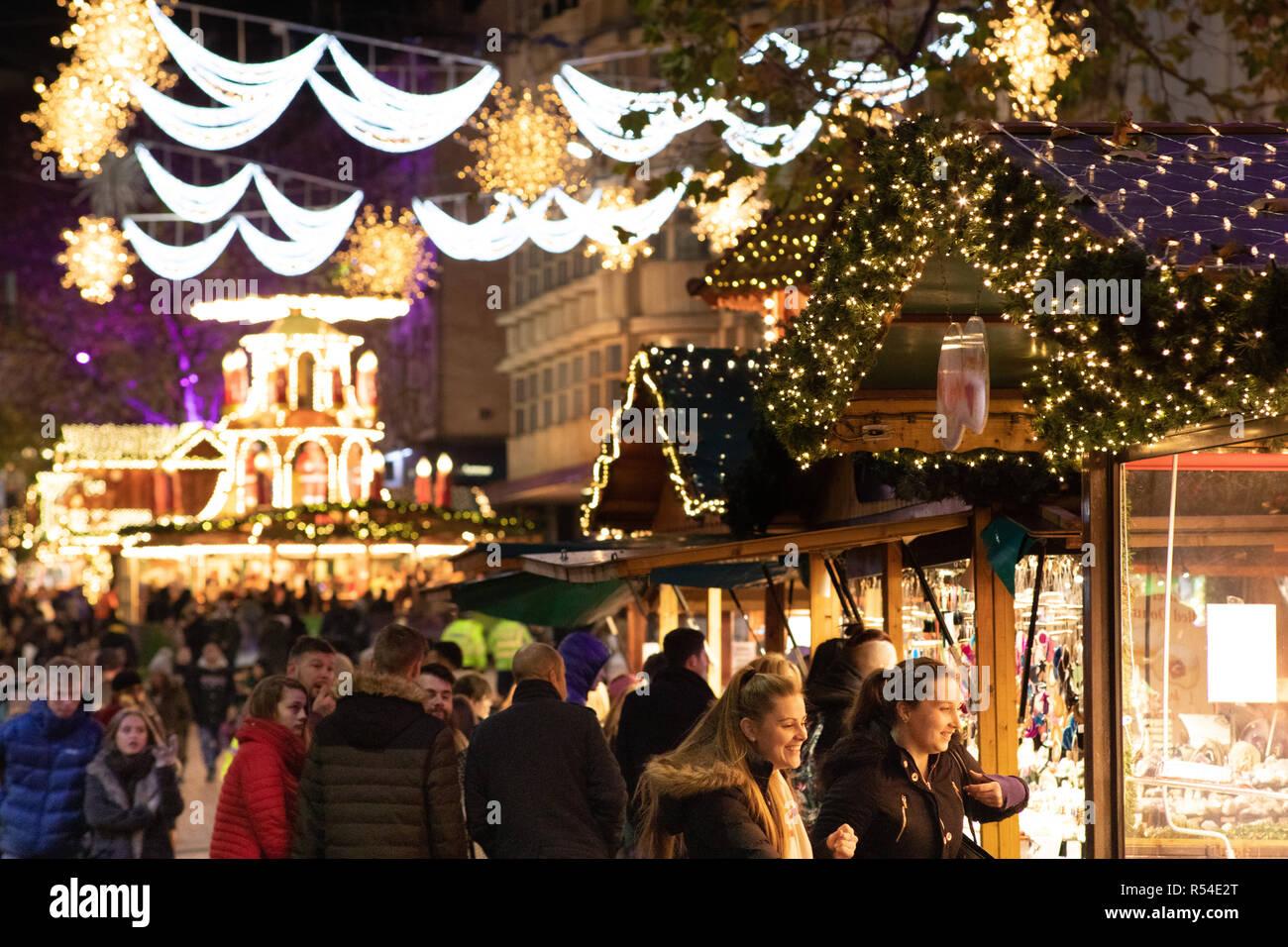 Birmingham Christmas Lights.Christmas Lights Surrounding The Frankfurt German Market On
