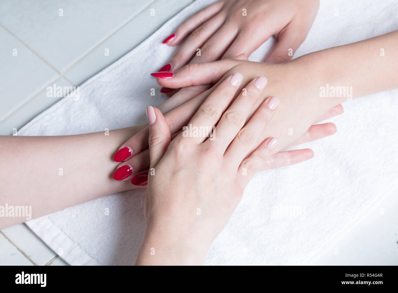 Close up of a hand massage - Stock Image