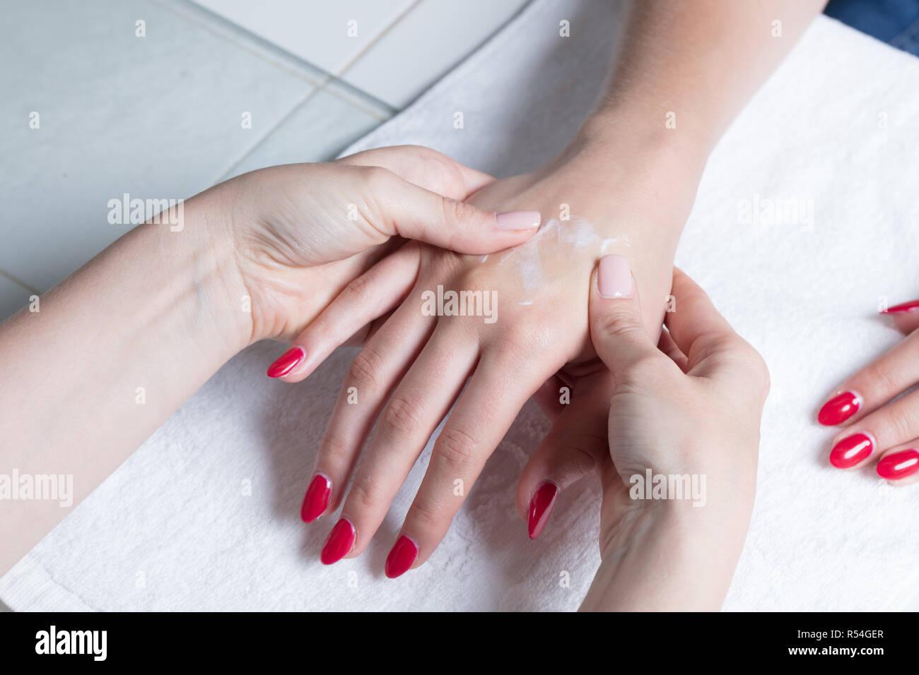 Close up of a hand massage Stock Photo