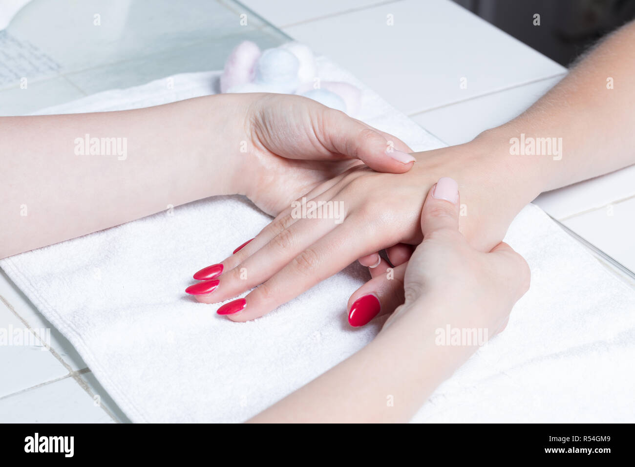 Close up of a hand massage - Stock Image