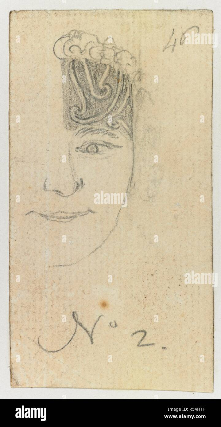 Sketch of a face with tattoo. DRAWINGS, in Indian ink, illustrative of Capt. Cook's first voyage, 1768 -1770, chiefly relating to Otaheite and New Zealand, by A. Buchan, John F. Miller, and others. 1768-1770. Source: Add. 15508, f.46 no.2. - Stock Image