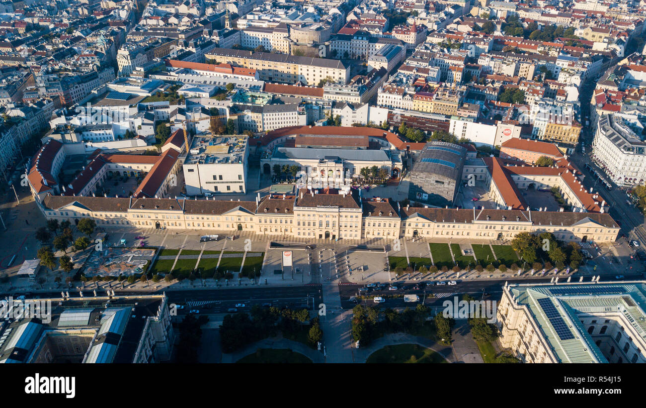 MuseumsQuartier or Museum Quarter, Leopold, Zoom and Mumok Museums, Vienna, Austria - Stock Image