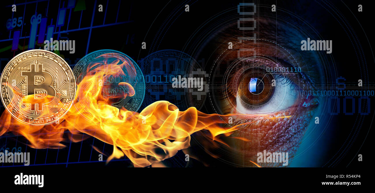 Eye man watching. Digital image of financial risk. Business gold coin digital currency stock market financial indicator background concept. - Stock Image