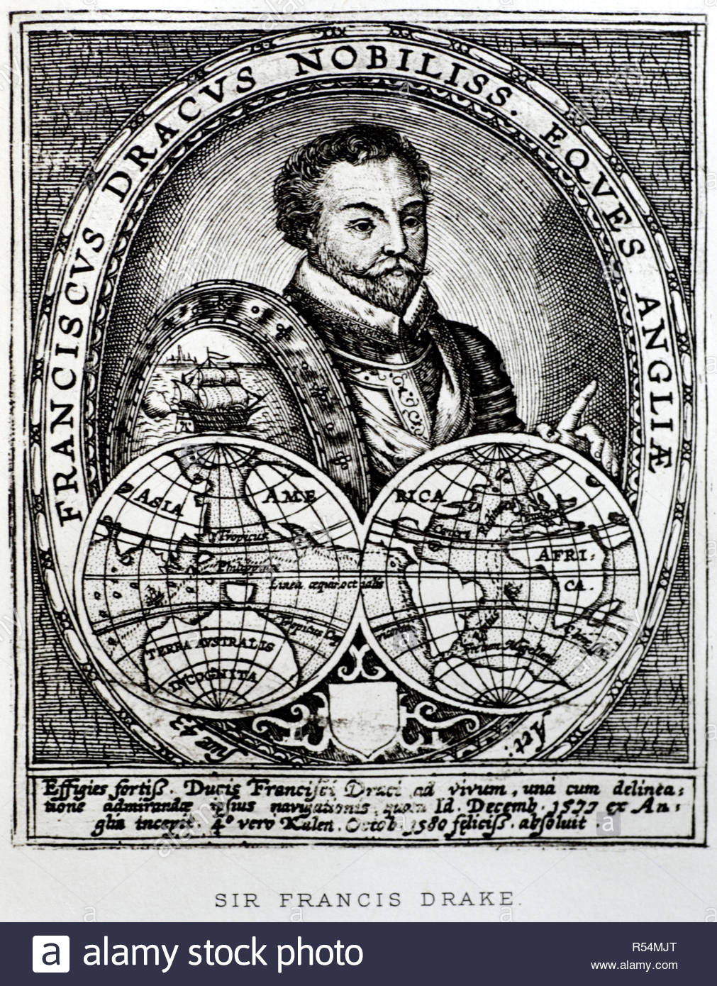 Sir Francis Drake portrait, 1540 – 1596,  was an English sea captain of the Elizabethan era, illustration from c1900 - Stock Image