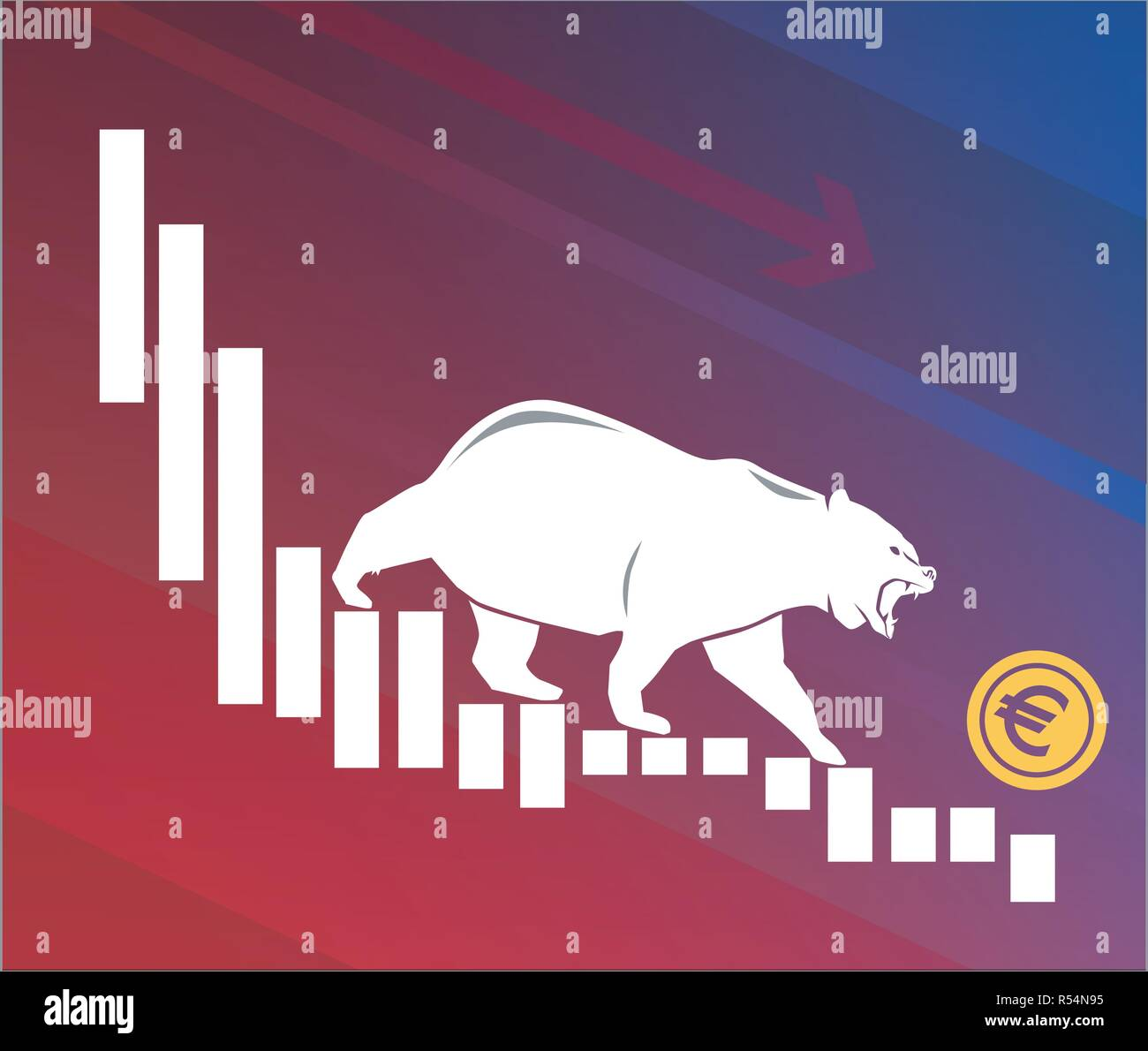 Bear moves Euro down on graph, negative currency market, red background - Stock Vector