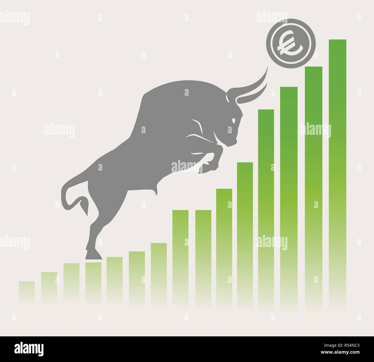 Bull moves Euro up on graph, positive currency market, grey background Stock Vector