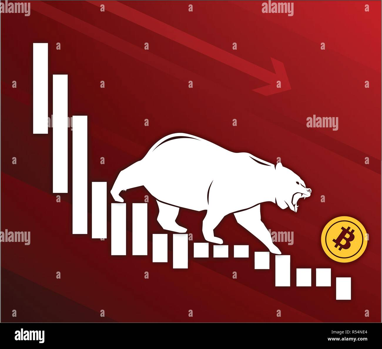 Bear moves Bitcoin down on graph, negative cryptocurrency market, red background Stock Vector