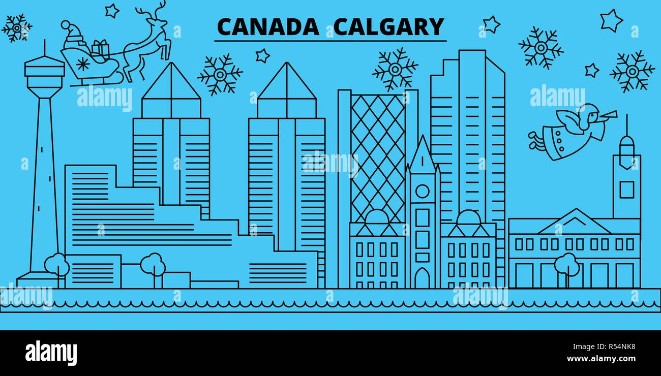 canada calgary winter holidays skyline merry christmas happy new year decorated banner with santa clauscanada calgary linear christmas city vector flat