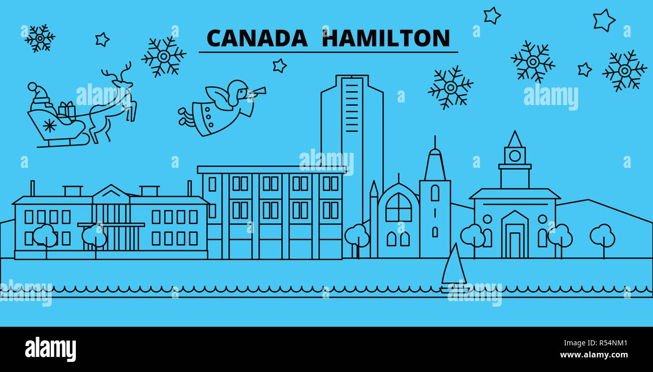 canada hamilton winter holidays skyline merry christmas happy new year decorated banner with santa clauscanada hamilton linear christmas city vector