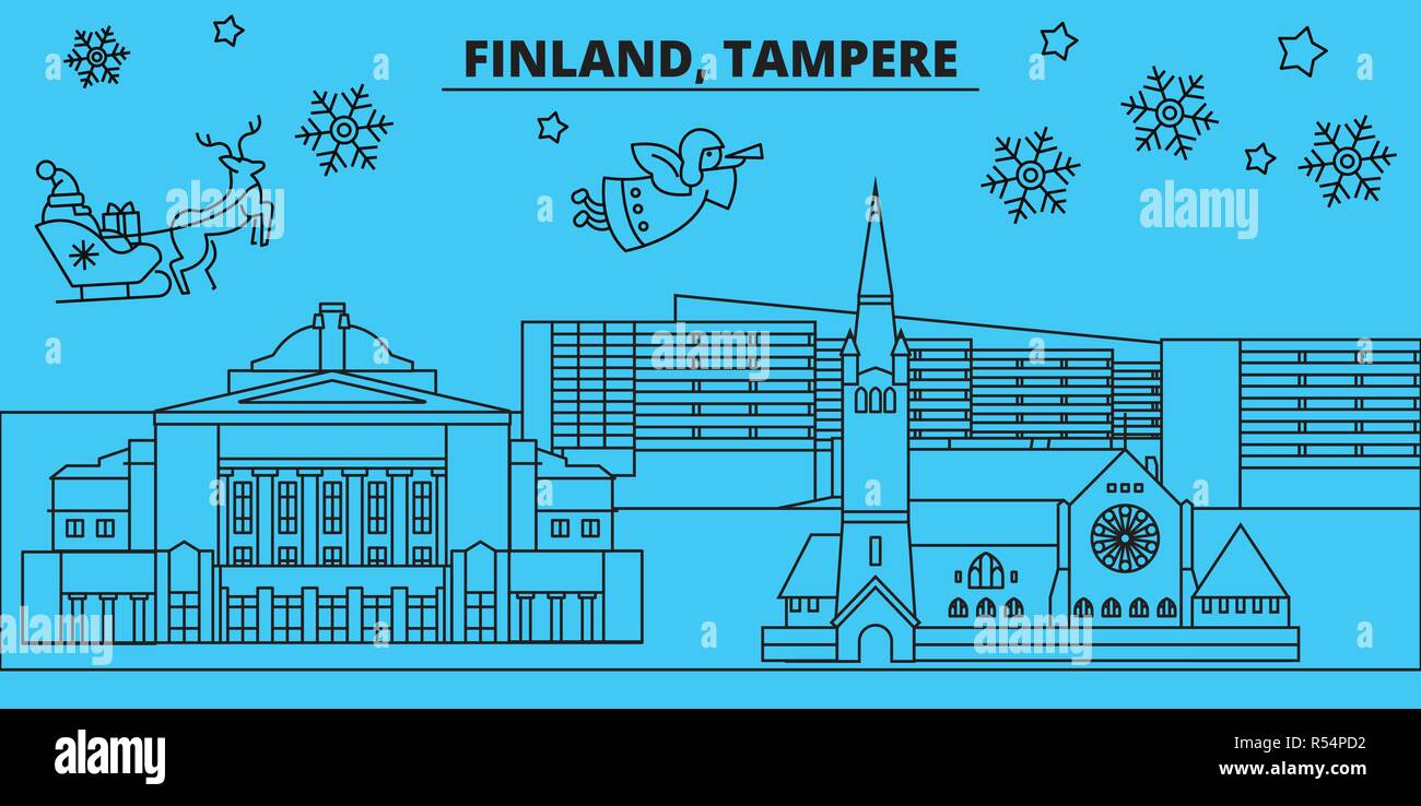 Finland, Tampere winter holidays skyline. Merry Christmas, Happy New Year decorated banner with Santa Claus.Finland, Tampere linear christmas city vector flat illustration - Stock Vector