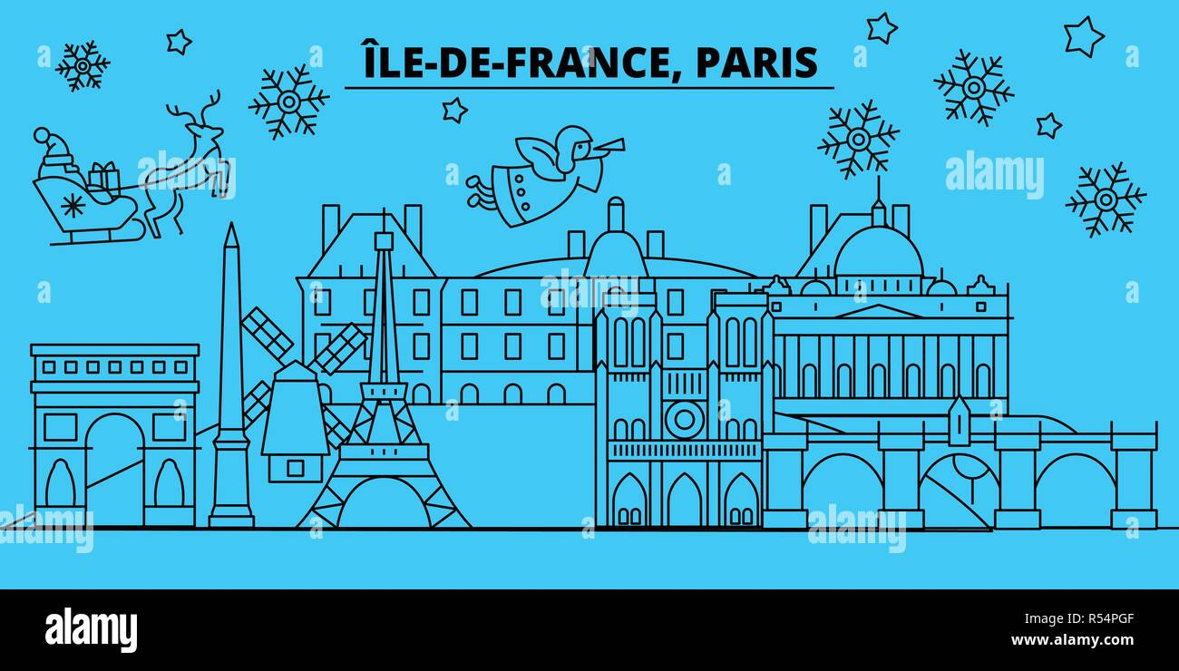 france paris city winter holidays skyline merry christmas happy new year decorated banner