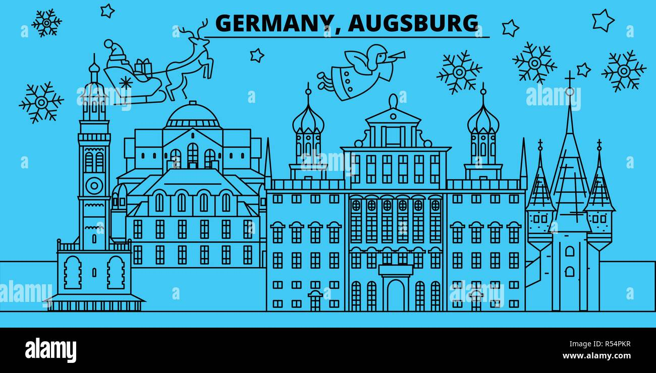 merry christmas happy new year decorated banner with santa clausgermany augsburg linear christmas city vector flat illustration