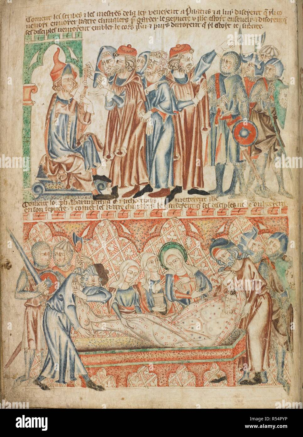 Soldiers are ordered by a man of law to guard the tomb; Christ's body is wrapped in a shroud and laid in the tomb. Holkham Bible Picture Book. England, circa 1320-1330. Source: Add. 47682, f.33v. - Stock Image