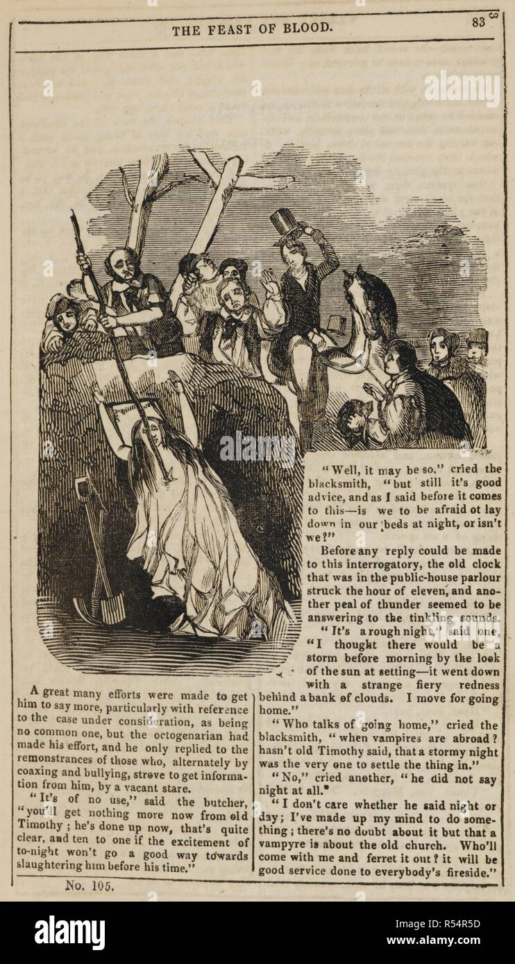 Woman in a pit, being impaled with a stake, to prevent her rising from the dead. Varney the Vampyre; or, the Feast of blood. A romance. London, 1845-47. Source: C.193.a.26, page 83. Language: English. Author: Rymer, James Malcom. - Stock Image