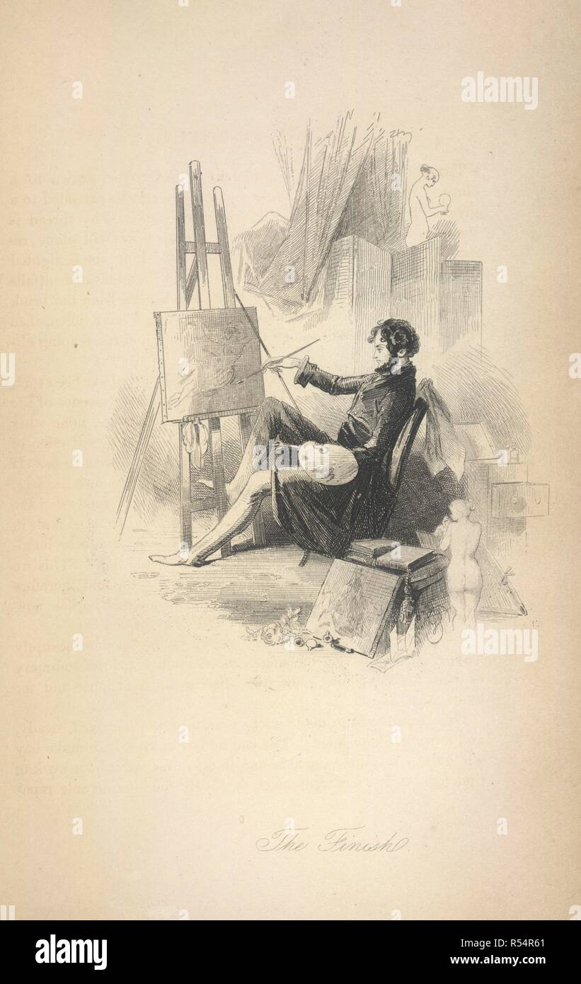The finish. D'Horsay; or, the Follies of the day. By a Man of. William Strange: London, 1844. Count Alfred Guillaume Gabriel D'Orsay (1801-1852). Amateur artist and man of fashion. Described as 'last of the dandies'. 'Disguised in the fiction', (this book) as the Marquis d'Horsay.  Image taken from D'Horsay; or, the Follies of the day. By a Man of Fashion [i.e. John Mills]. [A novel. With illustrations by George Standfast.].  Originally published/produced in William Strange: London, 1844. . Source: 1458.g.7, opposite 172. Language: English. - Stock Image
