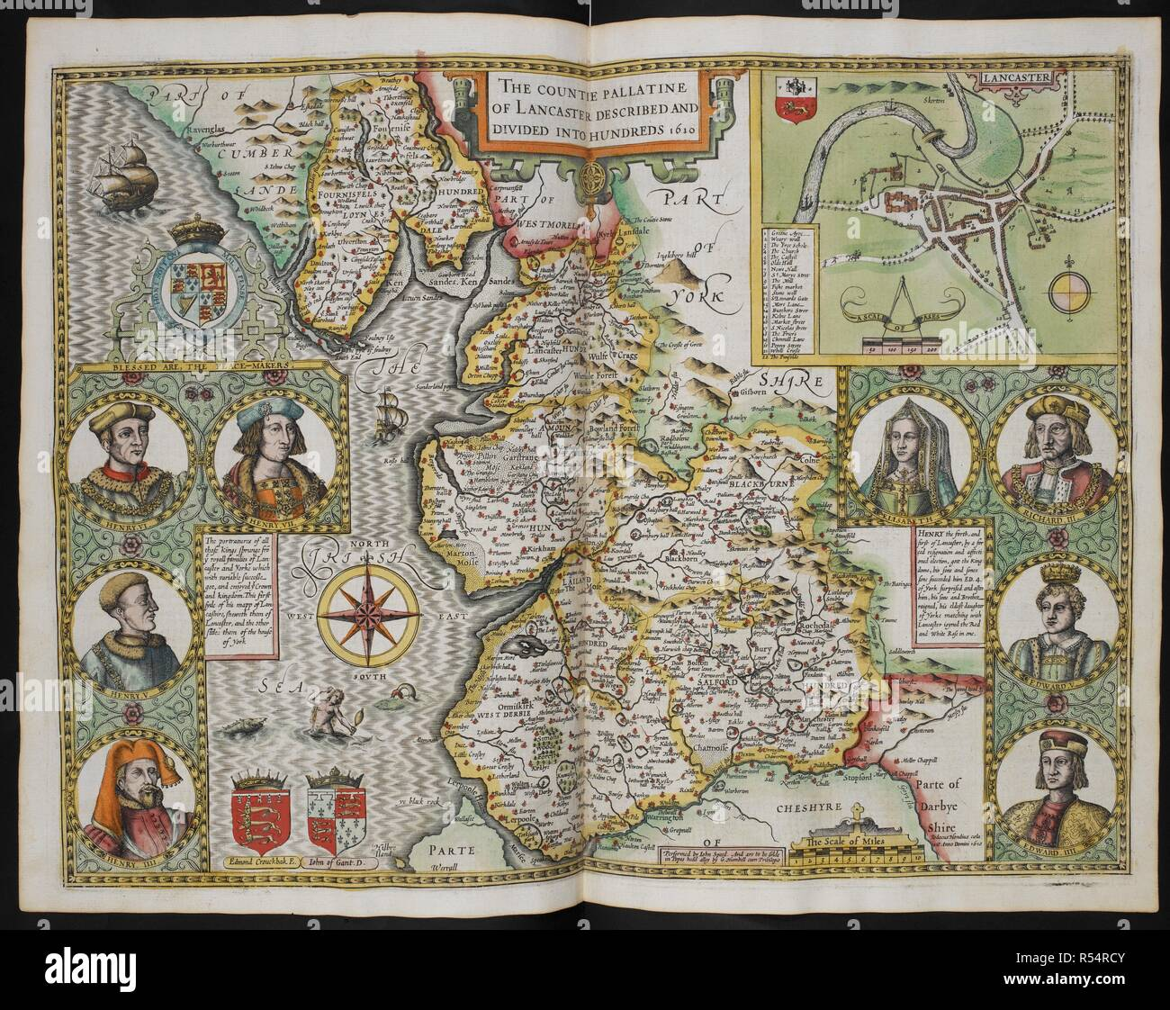 Map Of England Lancaster.The Countie Pallatine Of Lancaster Described And Divided Into