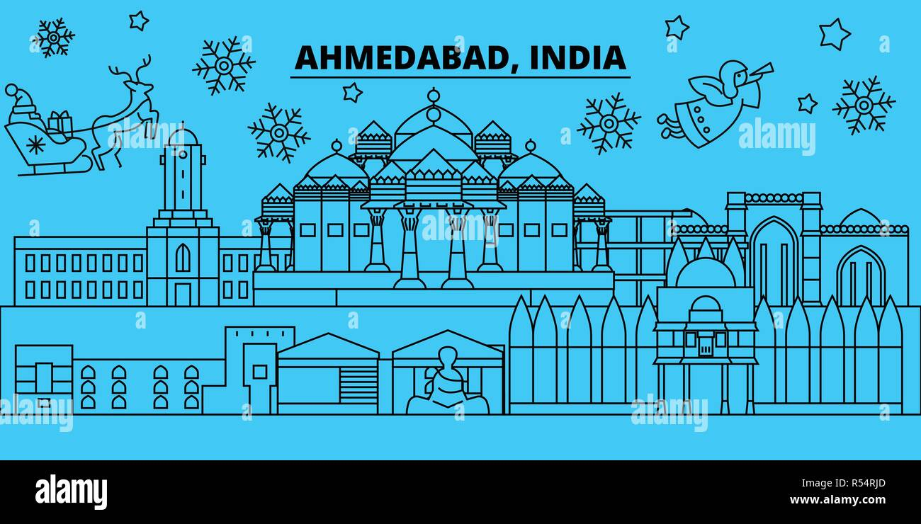 India, Ahmedabad winter holidays skyline. Merry Christmas, Happy New Year decorated banner with Santa Claus.India, Ahmedabad linear christmas city vector flat illustration - Stock Vector