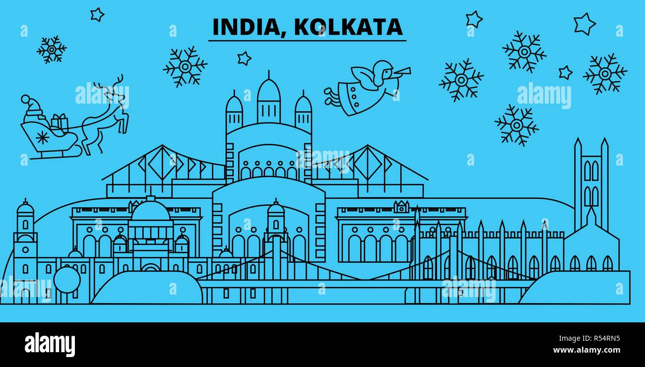 India, Kolkata winter holidays skyline. Merry Christmas, Happy New Year decorated banner with Santa Claus.India, Kolkata linear christmas city vector flat illustration - Stock Vector