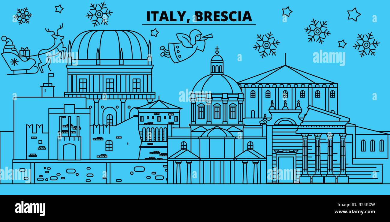 Italy, Brescia winter holidays skyline. Merry Christmas, Happy New Year decorated banner with Santa Claus.Italy, Brescia linear christmas city vector flat illustration Stock Vector