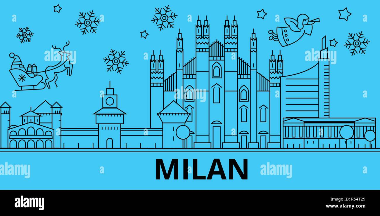 Italy, Milan winter holidays skyline. Merry Christmas, Happy New Year decorated banner with Santa Claus.Italy, Milan linear christmas city vector flat illustration - Stock Vector