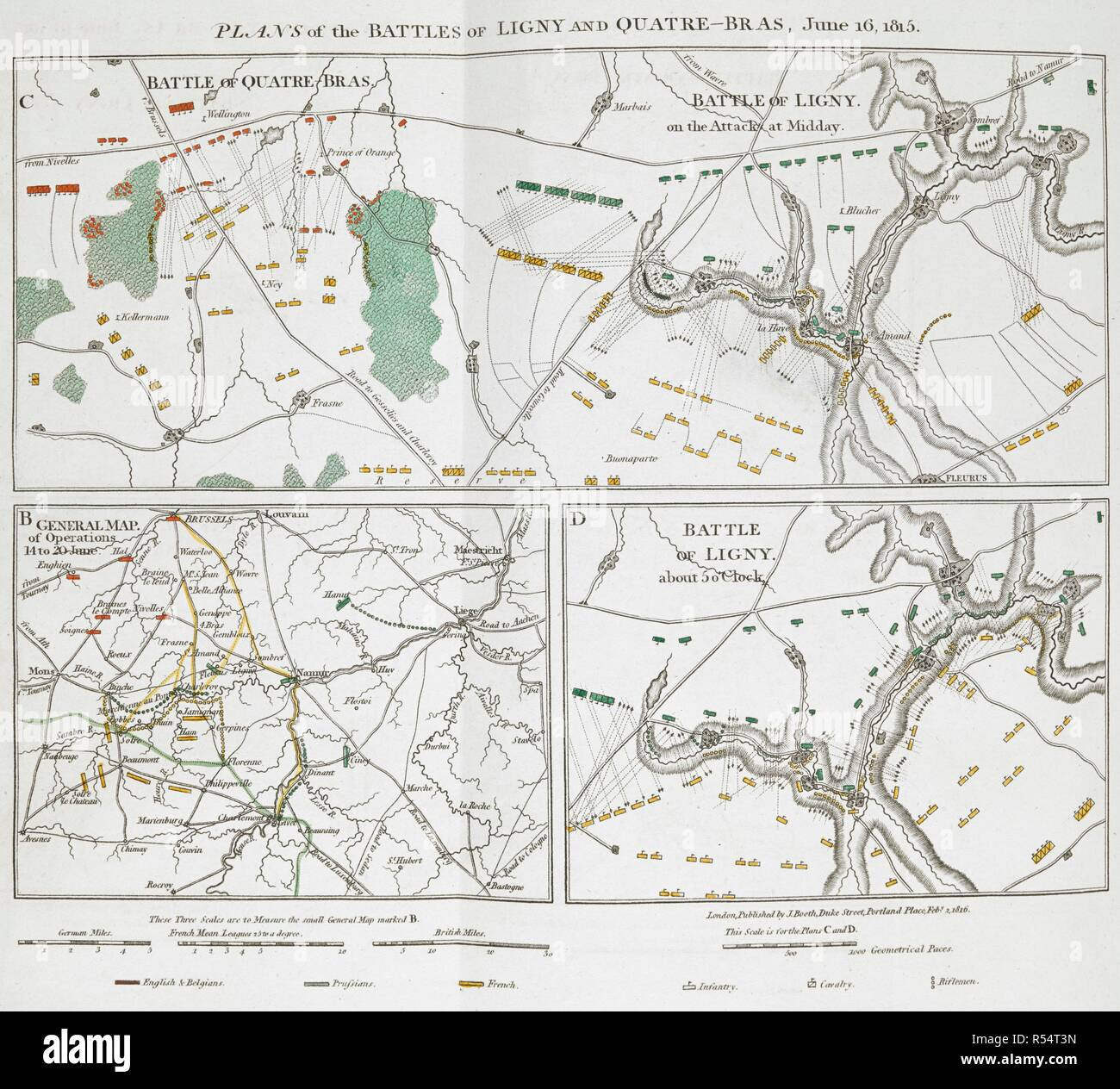 Plans of the Battles of Ligny and Quatre-Bras, June 16, 1815. The Battle of Waterloo, also of Ligny and Quatre-Bras described by ... a near observer ... [A narrative by C. A. Eaton, with a sketch by J. Waldie... from sketches by Captain G. Jones. 2 vol. John Booth; T. Egerton: London, 1817. Source: G.5651 part 2, 3rd fold-out plan. Author: Eaton, Charlotte Anne. Jones, Captain George. - Stock Image