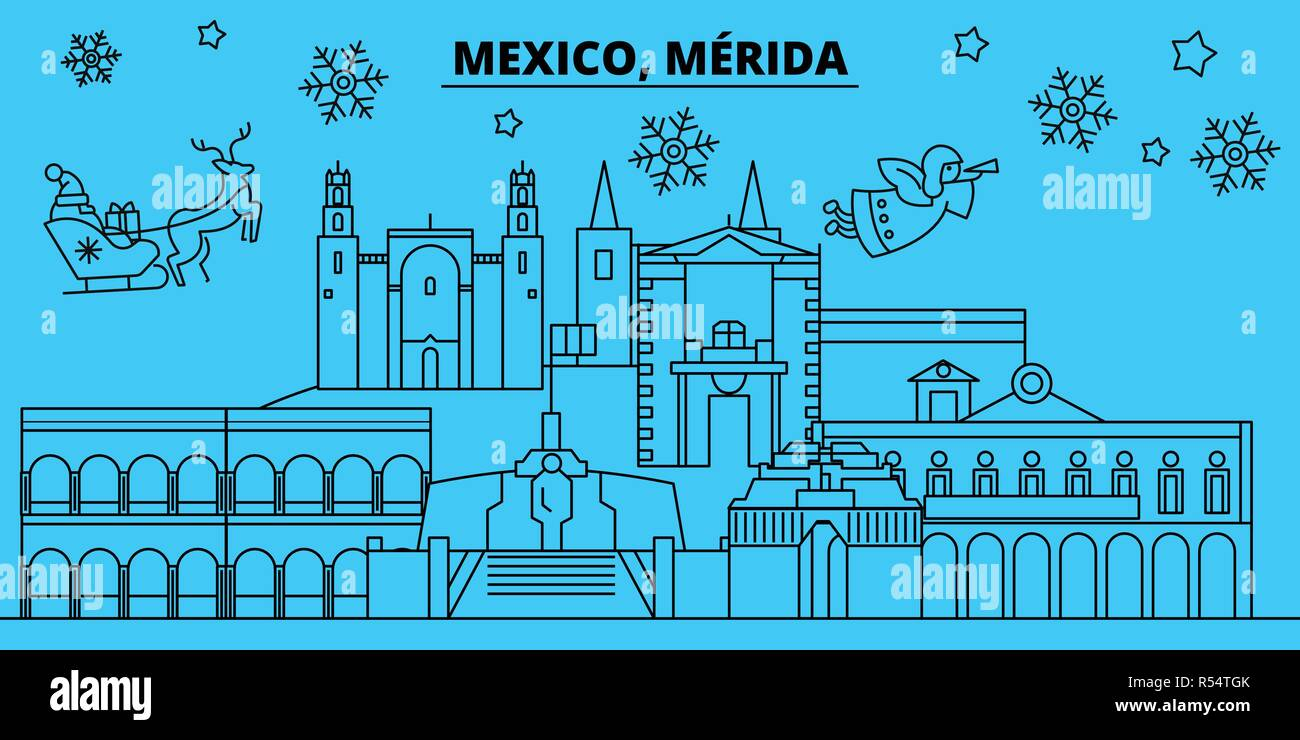 Mexico, Merida winter holidays skyline. Merry Christmas, Happy New Year decorated banner with Santa Claus.Mexico, Merida linear christmas city vector flat illustration Stock Vector