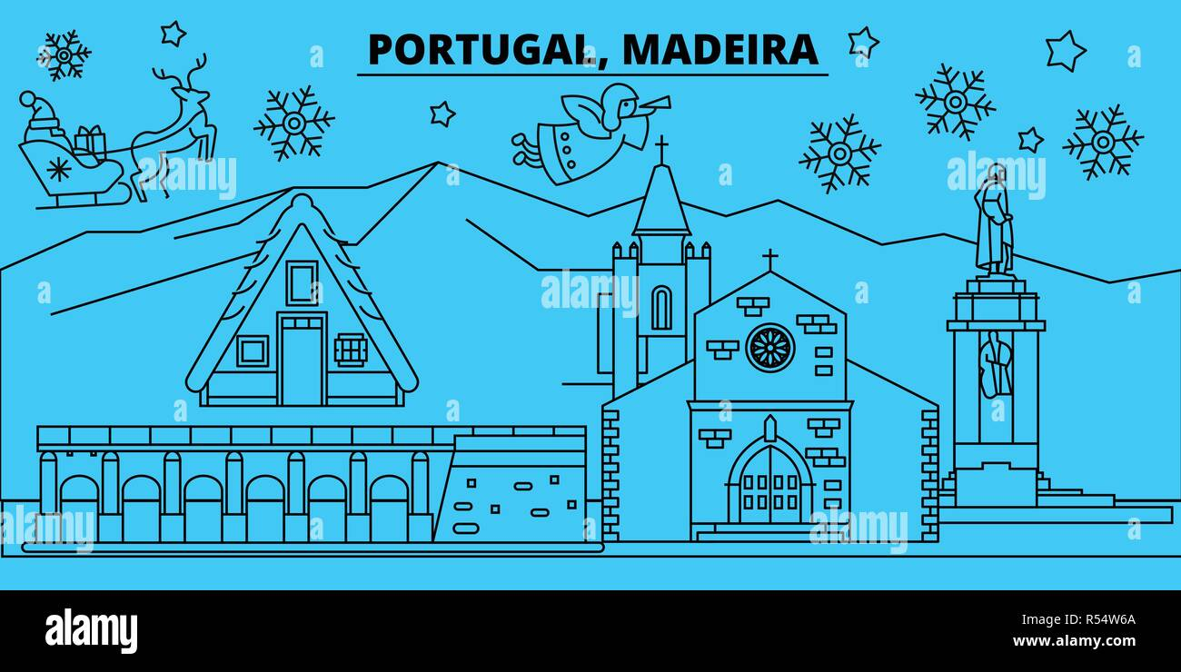 merry christmas happy new year decorated banner with santa clausportugal madeira linear christmas city vector flat illustration