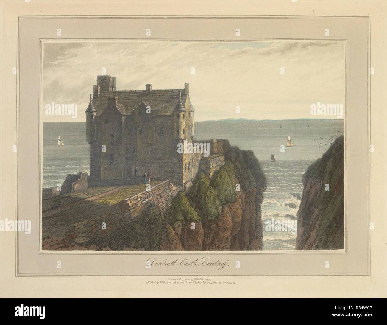 Dunbeath Castle in Caithness. The coastline and landscape of Great Britain. Drawn and engraved by William Daniell. A Voyage round Great Britain undertaken in the summer of the year 1813. With a series of views illustrative of the character and prominent features of the coast, drawn and engraved by William Daniell. Longman: London, 1814-25. Source: G.7045 plate 162. Language: English. Author: DANIELL, WILLIAM. AYTON, RICHARD. Stock Photo