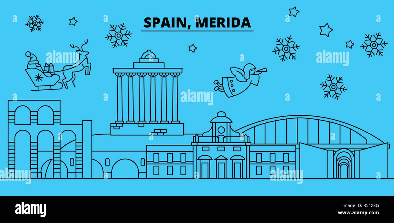 Spain, Merida winter holidays skyline. Merry Christmas, Happy New Year decorated banner with Santa Claus.Spain, Merida linear christmas city vector flat illustration Stock Vector