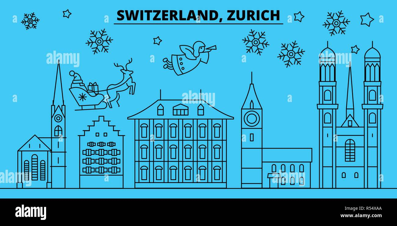 Switzerland, Zurich winter holidays skyline. Merry Christmas, Happy New Year decorated banner with Santa Claus.Switzerland, Zurich linear christmas city vector flat illustration - Stock Vector