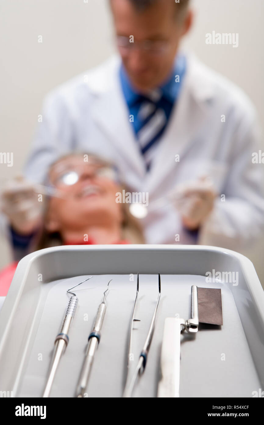 Tray with dental equipment on it - Stock Image