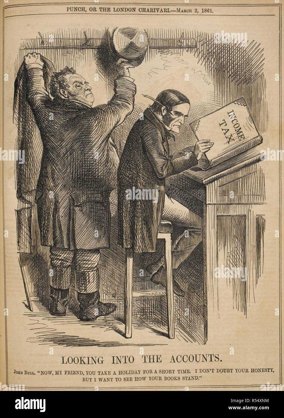 Looking into the accounts. John Bull. 'Now, my friend, you take a holiday for a short time. I don't doubt your honesty, but I want to see how your books stand'. Illustration in 'Punch', 1861. Punch, or the London Charivari. London, March 2, 1861. A political cartoon, drawn in black and white. Source: P.P.5270.ah, page 91. - Stock Image